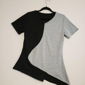 Black & Grey Tee Shirt with angled hem